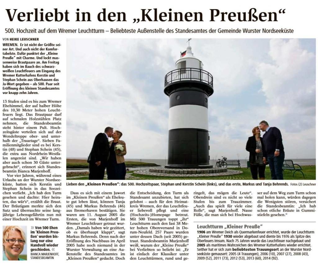 Artikel zur 500. Trauung im Kleinen Preußen aus der Samstagsausgabe der NORDSEE-ZEITUNG vom 30.05.2015